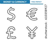 money   currency icons.... | Shutterstock .eps vector #610358927