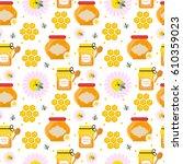 honey seamless pattern.... | Shutterstock .eps vector #610359023