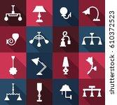 lamp icon set. vector design... | Shutterstock .eps vector #610372523