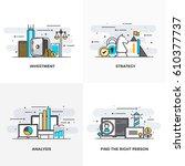 modern flat color line designed ... | Shutterstock .eps vector #610377737