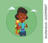 african traveler standing with... | Shutterstock .eps vector #610390007