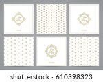 luxury retro labels cards with... | Shutterstock .eps vector #610398323
