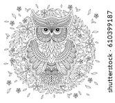 decorative owl. adult... | Shutterstock .eps vector #610399187