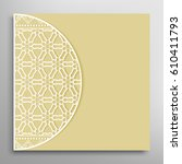 invitation or card with lace... | Shutterstock .eps vector #610411793