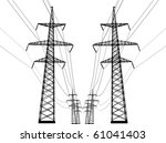 illustration with high voltage... | Shutterstock . vector #61041403
