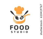 food studio vector logo.... | Shutterstock .eps vector #610419767