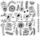doodle set of spring flowers ... | Shutterstock .eps vector #610429907