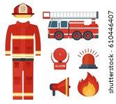 set of firefighter equipment... | Shutterstock .eps vector #610446407