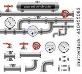 black pipe set constructor... | Shutterstock .eps vector #610455083