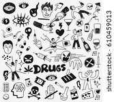 drugs doodles | Shutterstock .eps vector #610459013