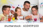 portrait of a cute happy father ... | Shutterstock . vector #610459103