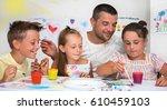 portrait of a cute happy father ... | Shutterstock . vector #610459103