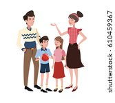 happy family cartoon icon | Shutterstock .eps vector #610459367