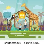 zoo entrance outdoor view with... | Shutterstock .eps vector #610464203