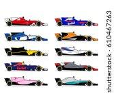 race car set. formula one... | Shutterstock .eps vector #610467263