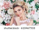 portrait of a beautiful fashion ...   Shutterstock . vector #610467533