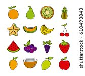 healthy fruits icon set over... | Shutterstock .eps vector #610493843