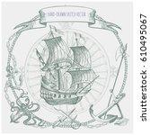 adventure stories. pirate... | Shutterstock .eps vector #610495067