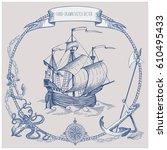 adventure stories. pirate... | Shutterstock .eps vector #610495433