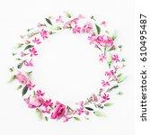 flowers composition. wreath... | Shutterstock . vector #610495487