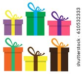 set of gift boxes . stack of... | Shutterstock .eps vector #610532333