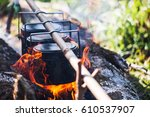 cauldron boils on the fire ... | Shutterstock . vector #610537907
