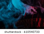 man with hat smoking a joint in ... | Shutterstock . vector #610540733