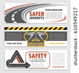 road and traffic safety banner...   Shutterstock .eps vector #610549217