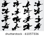 witch's silhouette | Shutterstock .eps vector #61057336