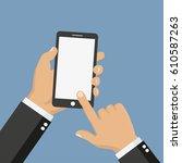 hand with phone vector... | Shutterstock .eps vector #610587263