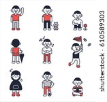 cute boy character dot pattern... | Shutterstock .eps vector #610589303