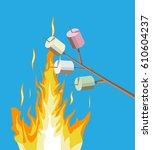 bonfire with marshmallow. logs...   Shutterstock .eps vector #610604237