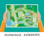 folded paper city suburban map... | Shutterstock .eps vector #610604393
