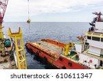 anchor handling tug boat... | Shutterstock . vector #610611347