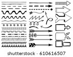 set of hand drawn lines  arrows ... | Shutterstock .eps vector #610616507