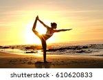 a yogi master is demonstrating... | Shutterstock . vector #610620833