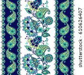 fantastic ornament with paisley.... | Shutterstock .eps vector #610626407