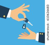 car seller hand giving key to... | Shutterstock .eps vector #610626683