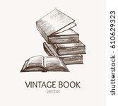 book stack hand draw sketch... | Shutterstock .eps vector #610629323