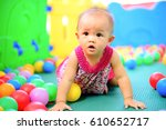 baby cute and ball background | Shutterstock . vector #610652717