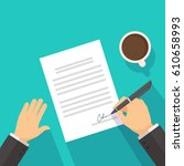 businessman signing on the... | Shutterstock .eps vector #610658993