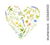 painted watercolor floral heart.... | Shutterstock . vector #610660433