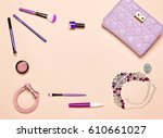 fashion lady accessories set.... | Shutterstock . vector #610661027