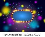 glowing lights retro frame for... | Shutterstock .eps vector #610667177