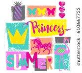 cute print for girls. summer... | Shutterstock .eps vector #610667723