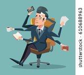 shocked multitasking... | Shutterstock .eps vector #610688963