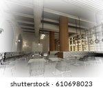 sketch design of   interior... | Shutterstock . vector #610698023