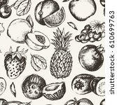 seamless pattern fruits  vector ... | Shutterstock .eps vector #610699763