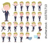 set of various poses of blond... | Shutterstock .eps vector #610701713
