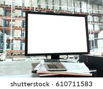computer and monitor with blank ... | Shutterstock . vector #610711583